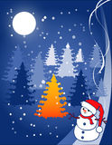 Christmas illustration - snowball. Under the moon on a background firs Stock Photography