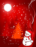Christmas illustration - snowball. Under the moon on a background firs Royalty Free Stock Photo
