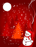 Christmas illustration - snowball. Under the moon on a background firs Royalty Free Stock Image