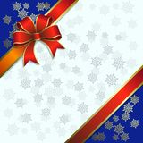 Christmas illustration on a snowflakes background Stock Photography