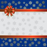 Christmas illustration on a snowflakes background Stock Images