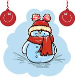 Christmas illustration - snowman Stock Photo