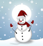 Christmas illustration with snowman Stock Photo