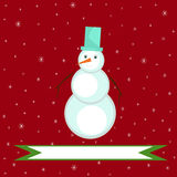 Christmas illustration of a snowman on a red background Royalty Free Stock Images