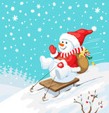 Christmas illustration. Snowman on sled with christmas gifts. Royalty Free Stock Photos
