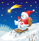 Christmas illustration. Snowman on sled with christmas gifts. Stock Photos