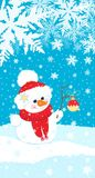 Christmas illustration of a snowman with a twig with Christmas ball on the background of snow and snowflakes. Stock Images