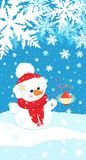 Christmas illustration of a snowman with a twig and a flashlight on the background of snow and snowflakes. Stock Photos