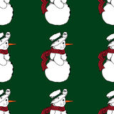 Christmas illustration. Snowman wearing a scarf and hat. Christmas card. Seamless pattern. Stock Images