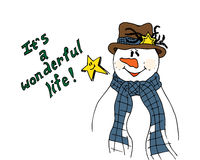 Christmas illustration. Snowman wearing a scarf and hat. It's a Wonderful Life. Christmas card. Stock Images