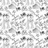 Christmas illustration. Snowmen in hats and scarves. It's a Wonderful Life. Christmas card. Seamless pattern. Royalty Free Stock Photo