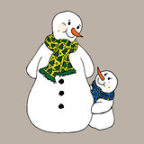 Christmas illustration. Snowmen in scarves, adults and children. Christmas card. Stock Photos