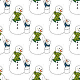Christmas illustration. Snowmen in scarves, adults and children. Christmas card. Seamless pattern. Royalty Free Stock Photo