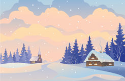 Christmas. Illustration of a snowy Christmas landscape Royalty Free Stock Images