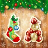 Christmas illustration with sock and baubles on wooden background. Vector illustration eps10 stock illustration