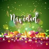 Christmas Illustration with Spanish Feliz Navidad Typography and Gold Cutout Paper Star, Ornamental Ball on Shiny Blue. Background. Vector Holiday Design for vector illustration