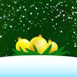 Christmas illustration of three balls. Branches and snow with empty text area Royalty Free Stock Images