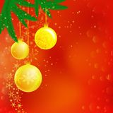 Christmas illustration of three balls, branches. Frame, card, banner Stock Images