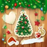 Christmas illustration with tree and paper elements Stock Image