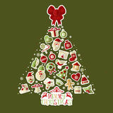 Christmas illustration of tree with stickers. Royalty Free Stock Photos