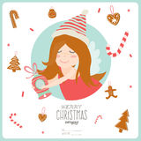 Christmas illustration with Typographic Background. Vintage Merry Christmas And Happy New Year Calligraphic And Typographic card with greeting candy on a stick Stock Images