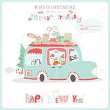Christmas illustration with Typographic Background. Vintage Merry Christmas And Happy New Year Calligraphic And Typographic card with greeting candy on a stick Royalty Free Stock Images