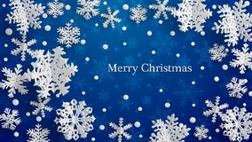 Christmas background with three-dimensional paper snowflakes vector illustration