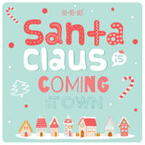 Christmas Illustration With Typographic Background Stock Photography