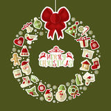 Christmas illustration of wreath with stickers. Stock Photo
