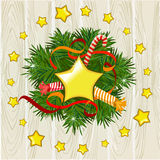 Christmas illustration with a wreath on a wooden background Royalty Free Stock Photo