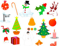 Christmas illustrations. Including snowman,deer,bell,tree etc Stock Photography