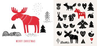 Christmas illustrations, in Scandinavian style royalty free illustration