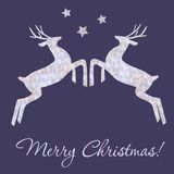 Christmas ilustration with deers. Royalty Free Stock Image