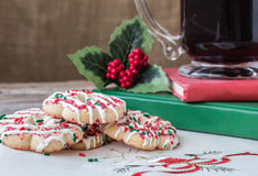Christmas image of cookies on plate with cup of coffee. Royalty Free Stock Image