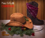 Christmas image with cowboy hat and boot Royalty Free Stock Images