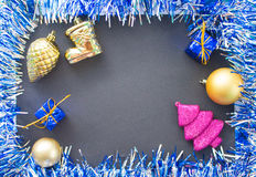 Christmas image for greeting card or banner. Closeup winter holiday background Stock Photos