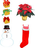 Christmas Images. Several Christmas images including poinsettia, snowman, stocking, and gifts ideal for promotions or greeting cards Stock Photos