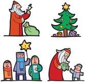 Christmas Images. Four Christmas images, Santa, Christmas tree and carolers Stock Photography