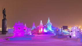 Christmas In Moscow. Ice Town In Victory Park Royalty Free Stock Image