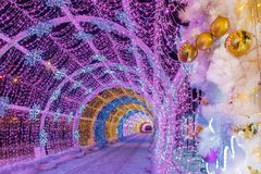 Free Christmas In Moscow. Light Tunnel On Tverskoy Boulevard Stock Photography - 128841622