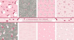Free Christmas In Pink Abstract Set Of 8 Seamless Patterns, Great For For Backgrounds, Wallpapers, Fabrics, Wraps And Many More Designs Stock Photo - 166226320