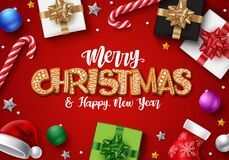 Free Christmas In Red Background Vector Design. Merry Christmas Gingerbread Text With Colorful Decor Element. Royalty Free Stock Images - 195023159