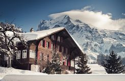 Free Christmas In Swiss Alps Hotel Stock Image - 52221951