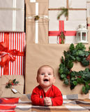 Christmas infant baby child lying rustic craft decoration gift p Stock Images