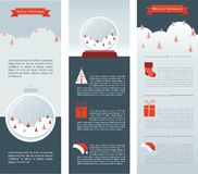 Christmas Infographic set of three info cards Royalty Free Stock Images