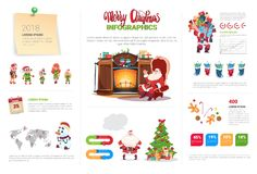 Christmas Infographics Elements Set Template Banner With Text And Holiday Decorations. Flat Vector Illustration Royalty Free Stock Photo