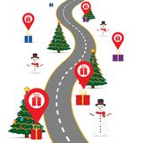 Christmas infographics template with a road and navigational pointers and a map with gift boxes. Eps 10 Stock Image