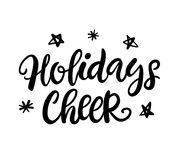 Christmas ink hand lettering. Holidays Cheer phrase Royalty Free Stock Photo