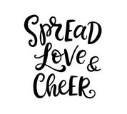 Christmas ink hand lettering. Spread Love and Cheer phrase Stock Images