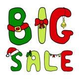 Christmas inscription big sale Stock Image